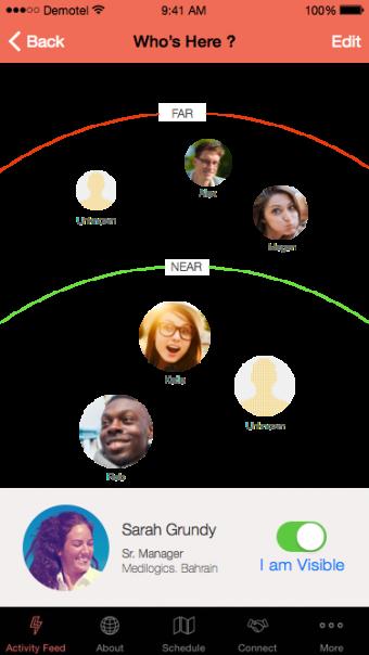 Conference app beacon