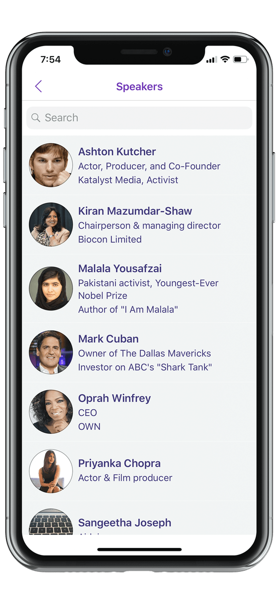 event app speaker list